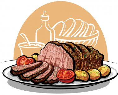 Roast beef with roasted potatoes