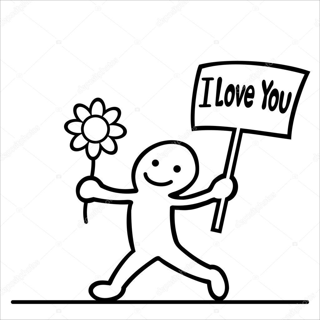 Dibujos animados de hombres con mensaje de amor y flores — Vector de stock