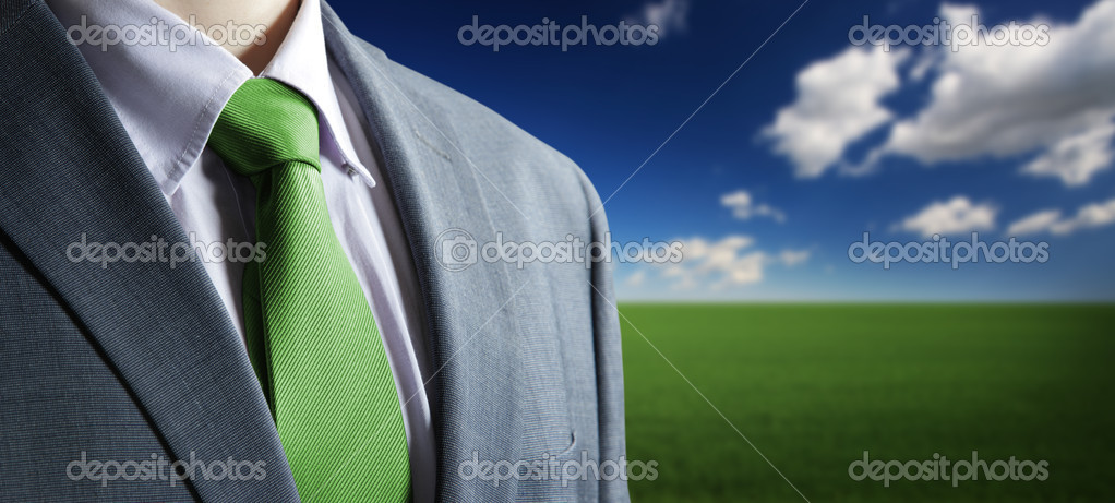 Environment concept: Close up of classic business attire with gr