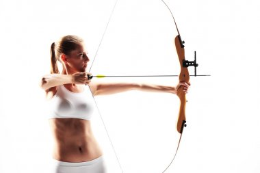 Determined young woman archer