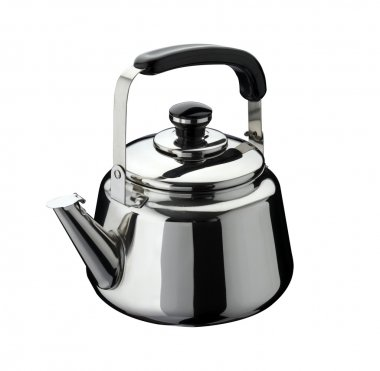 Kitchen tools: kettle on stainless steel, isolated on white back