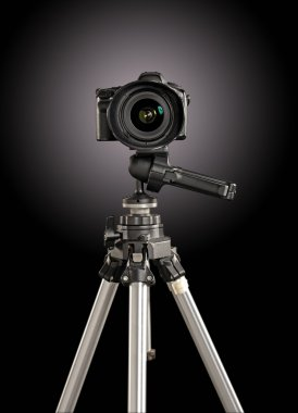 Professional digital camera on a tripod
