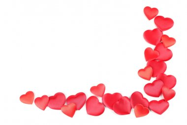 Frame made of heart shaped confetti on white background stock vector