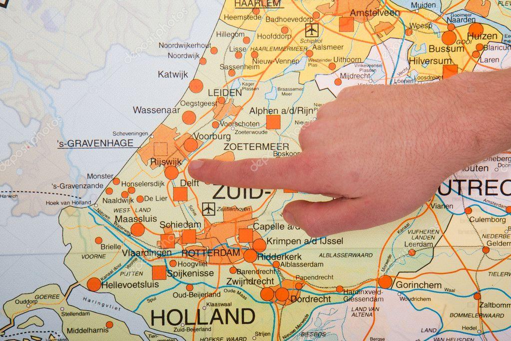 holland térkép Egy holland Térkép lapokkal mutató kormányzati városába a Ha