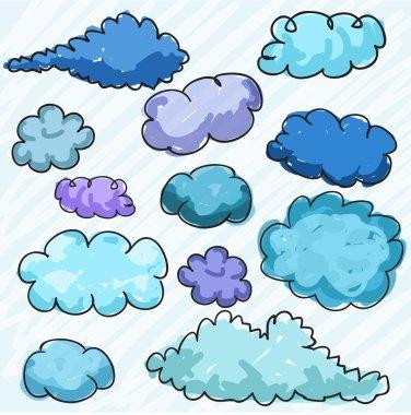 Hand drawn clouds, vector clip art vector