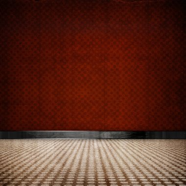 Red retro vintage grunge empty room