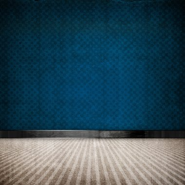 Blue retro vintage grunge empty room