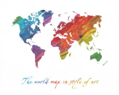 World map multi-colored