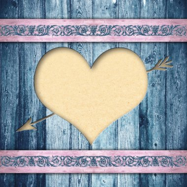 Wooden boards with heart
