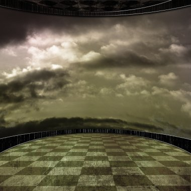 Grunge room background with a wall in clouds