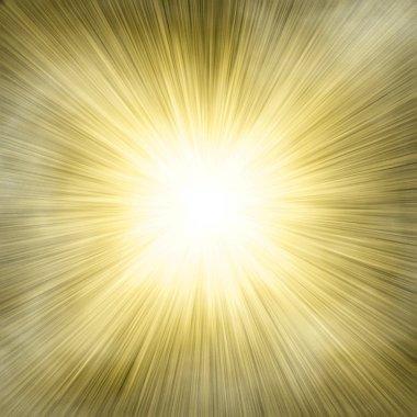 Spotlight single gold on smog background