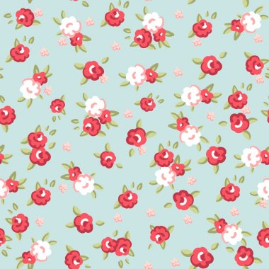 English Rose, Seamless wallpaper pattern with pink roses on blue background