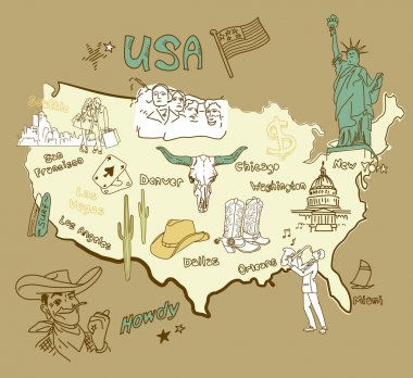 Stylized map of America. Things that different Regions in USA are famous for. stock vector