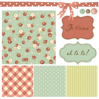 Vintage Rose Pattern, frames and cute seamless