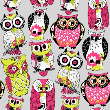 Seamless and colourful owl pattern