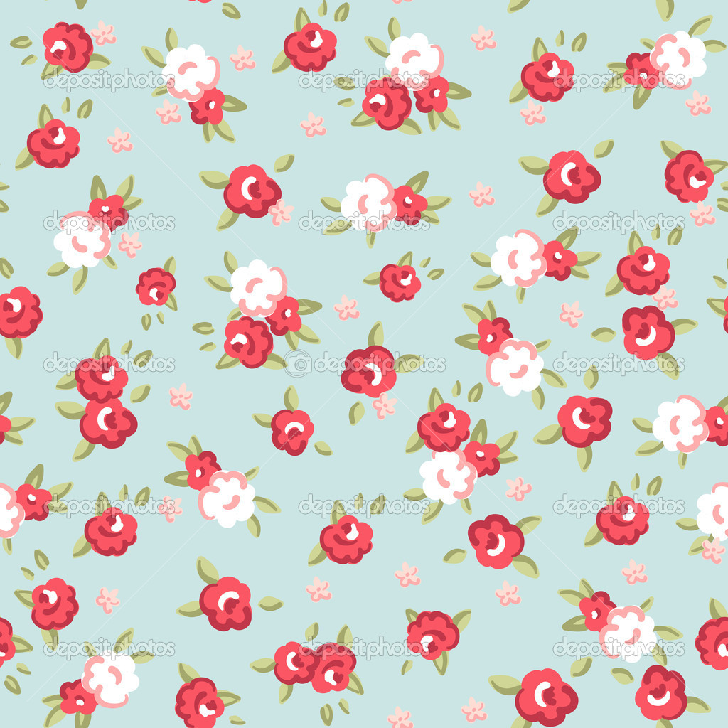 English Rose Seamless Wallpaper Pattern With Pink Roses On Blue Background Stock Vector