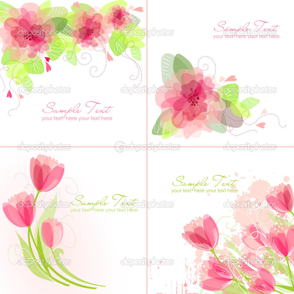 Set of 4 Romantic Flower Backgrounds in pink and white