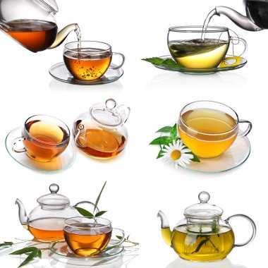Tea collage with six images on a white background stock vector