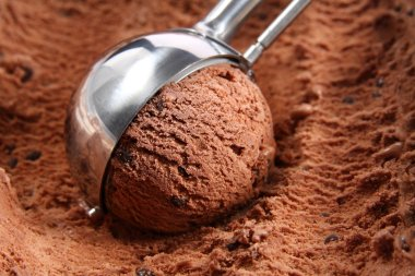 Chocolate ice cream scoop