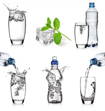 Water glasses and bottles collage