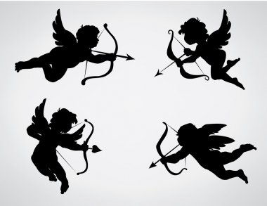 Collection of 4 cupid silhouettes stock vector
