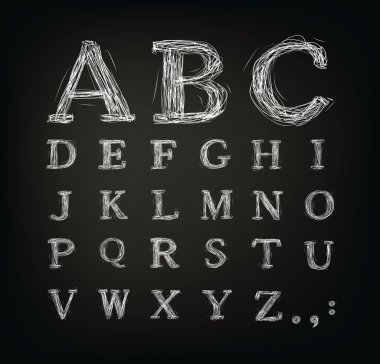 Scribbled alphabet