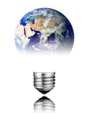 Lightbulb World Shape - Asia, Africa