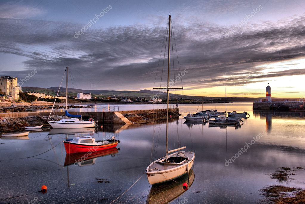 HDR - Boats in Harbour with Lighthouse