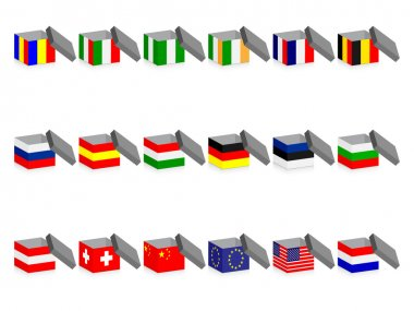 Open boxes with flags icon