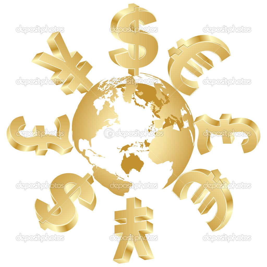 Money Symbols Around The World Stock Vector Marincasandrei 8036228