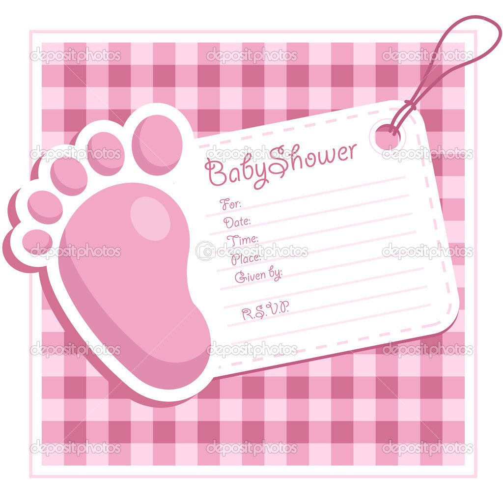 Pink Baby Shower Invitation — Stock Vector © Mictoon #8513016