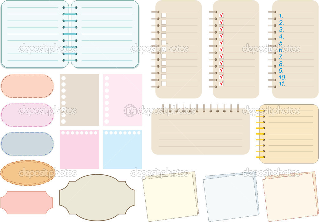Scrapbook elements. Paper and notebooks