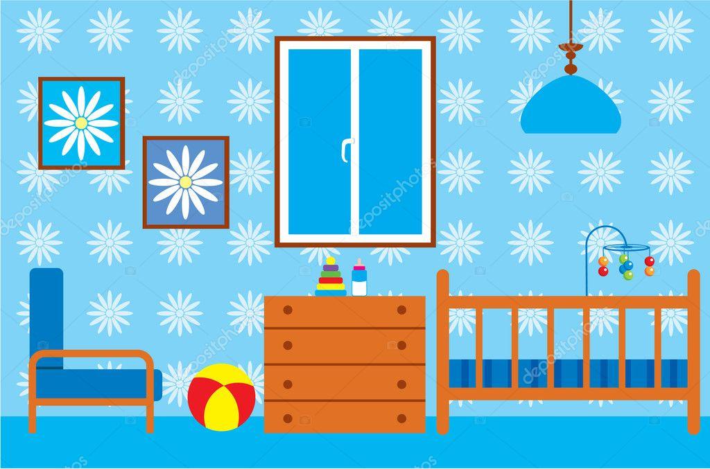 chambre d 39 enfant pour le nouveau n image vectorielle gurzzza 10708936. Black Bedroom Furniture Sets. Home Design Ideas