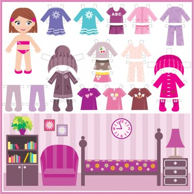 Paper doll with a set of clothes and a room