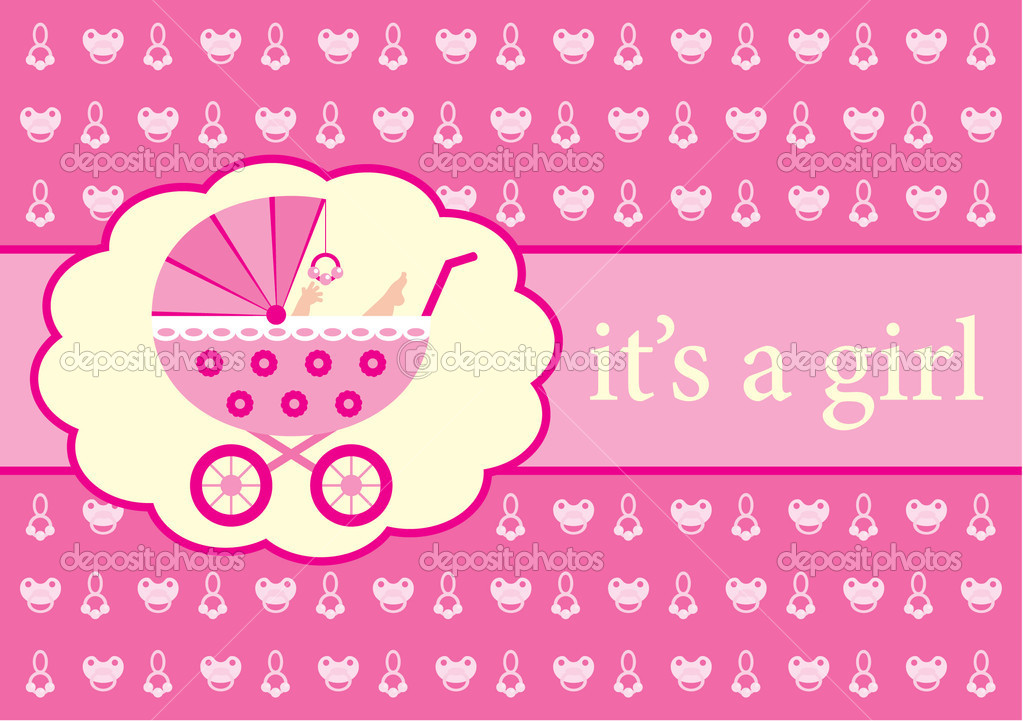 baby girl arrival announcement card stock vector gurzzza 8630387