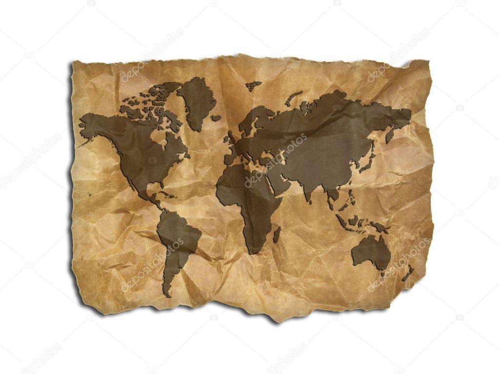 Wort Karte Auf Altes Papier Isoliert Stockfoto Aopsan 10051867