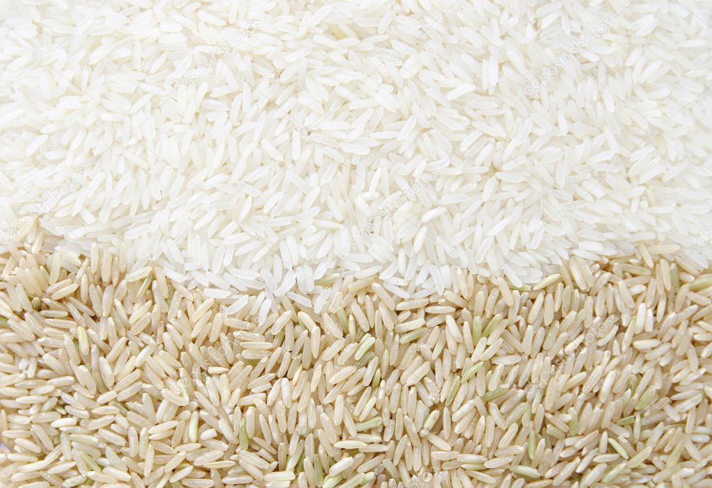 White rice and brown rice background texture