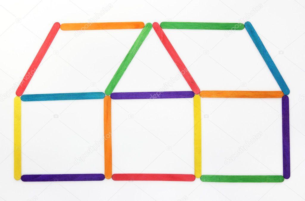 ic ne de maison faite de b ton de glace bois color photographie aopsan 10334653. Black Bedroom Furniture Sets. Home Design Ideas