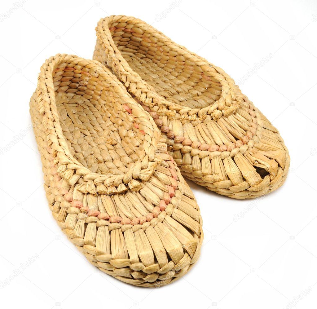 Isolated natural bast shoes ⬇ Stock Photo, Image by © Belinka #8038899