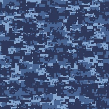 Military blue camouflage seamless pattern. stock vector