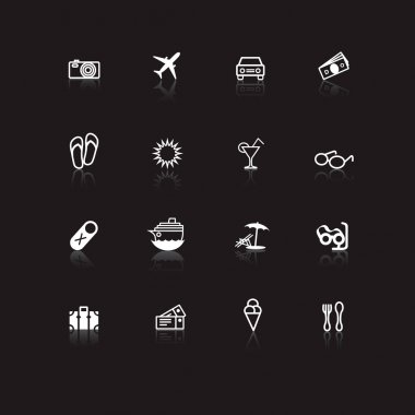 White travel icons on black