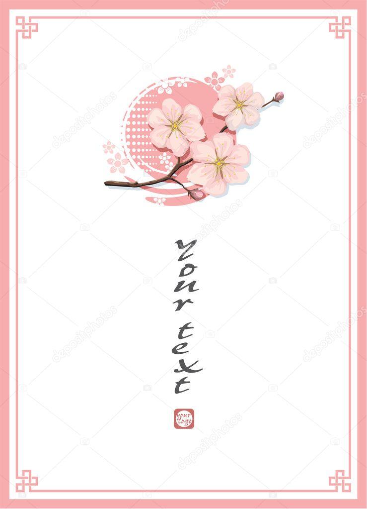 blossom cherry template background stock vector leshabur 8818090
