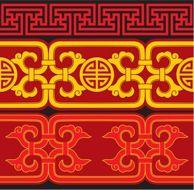 Set of Oriental Chinese Seamless Borders