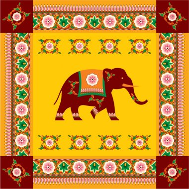 Vector Indian (Hindu) Elephant with Traditional Pattern Border stock vector