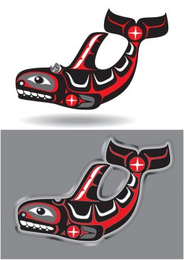 Orca - Killer Whale - in Native American Art Style
