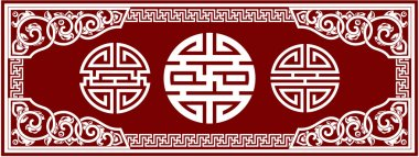 Set of Vector Oriental Chinese Design Elements - Knots, Frame, Border, Corn