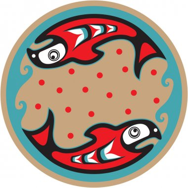 Fish Salmon - Native American Style Vector