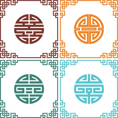 Set of Vector Oriental Chinese Knots with Frames