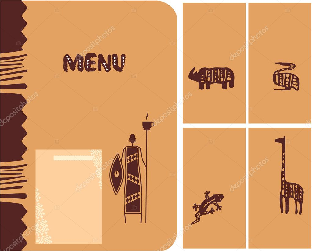 set of african template design menu cover cards stock vector