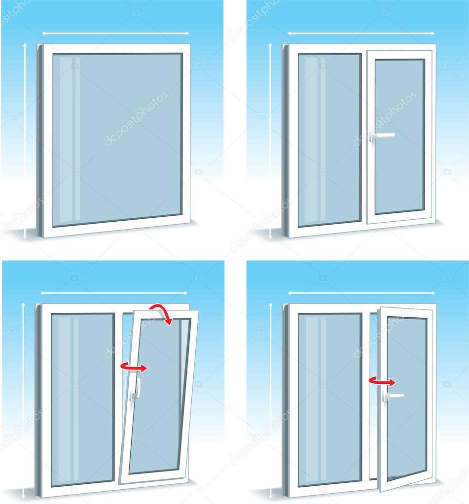 insieme di tipi di finestre pvc plastica vettoriali